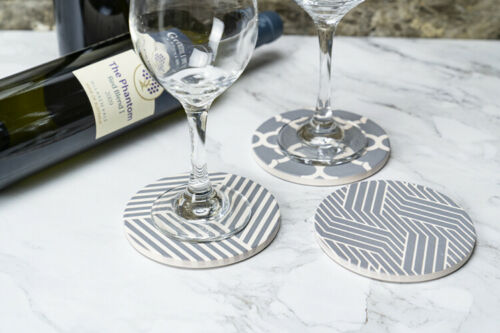 ENKORE Ceramic Absorbent Coaster Set of 6 in 3 Patterns Protect Table From Marks