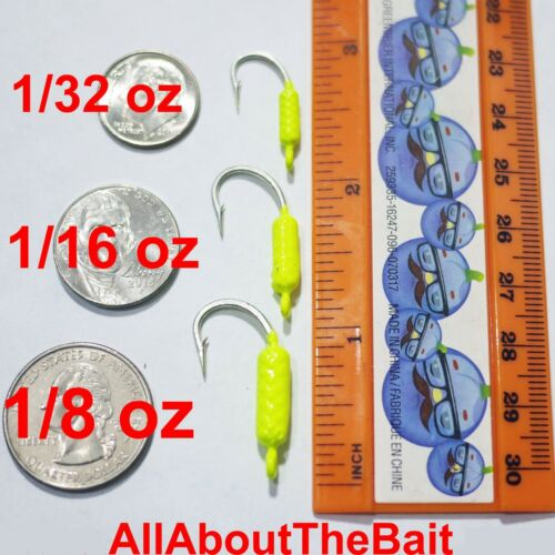 Mustad Saltwater Hook  MIXED 50 pack Yellowtail Snapper Jigs Chartreuse