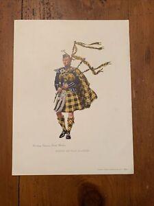 1953 Dewar's Scotch Whiskey Tartan of Clan McLeod Lithograph 9.5 x 12.5