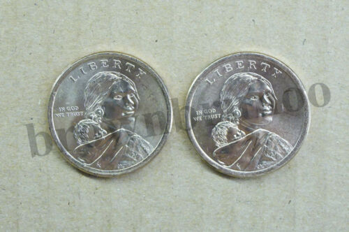 2018 P/&D Native American Sacagawea Dollar Uncirculated Jim Thorpe 2 Coins $1