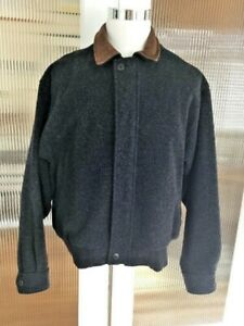 Vtg-Men-s-Woolrich-Coat-Charcoal-Gray-100-Wool-Plaid-Lined-Bomber-Jacket-Large