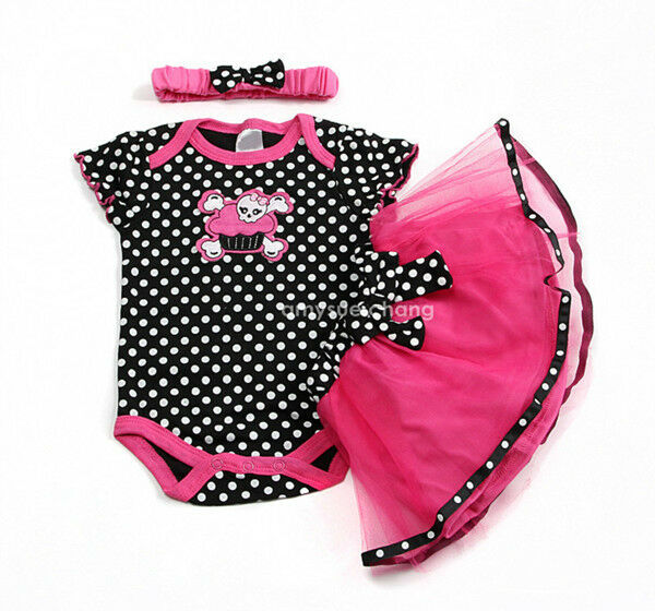 Baby Toddler Infant Girl Headband+Romper+Skirt Halloween Outfit Clothes Hot Pink