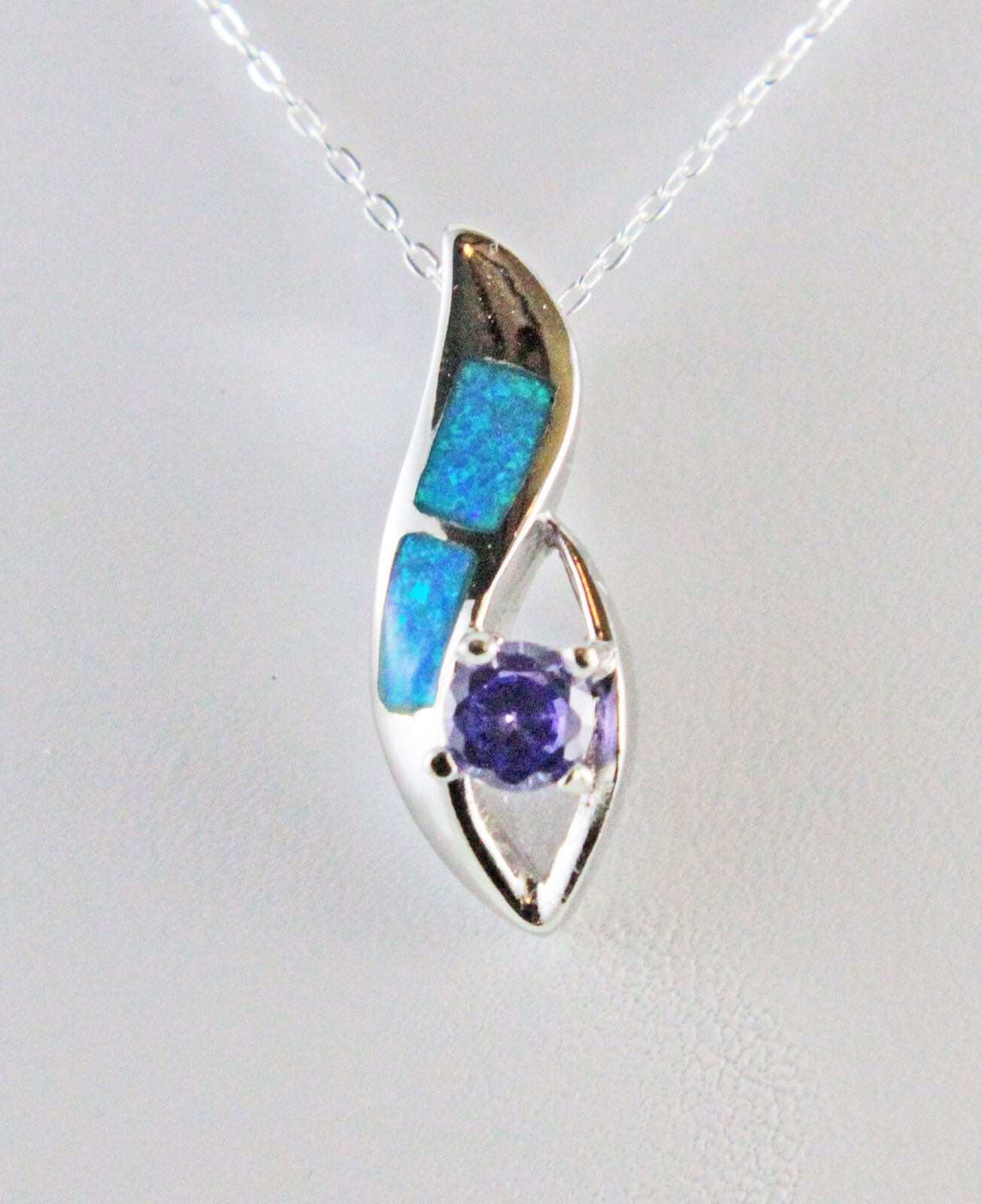 bluee Fire Opal Round Amethyst 5 mm w  18  Flat Cable Chain 50% Off Retail