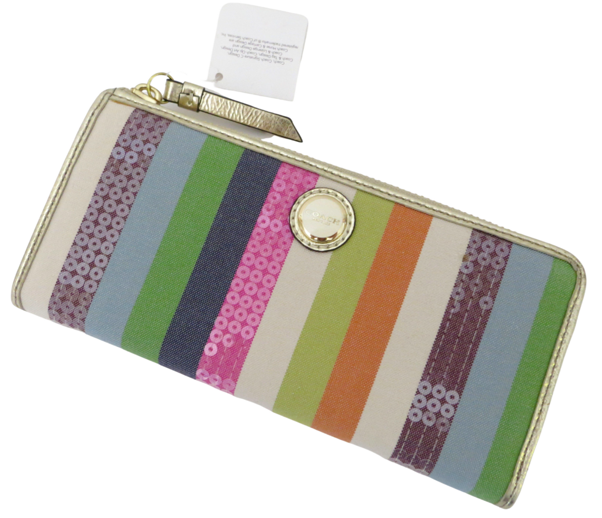 New Coach Signature Poppy Legacy Striped Sequined Slim Zip Around Wallet 47066