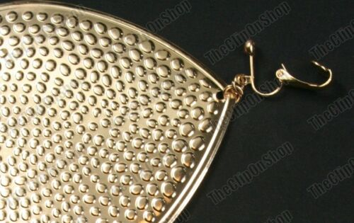 "CLIP ON 4.5/""GIANT TEARDROP retro EARRINGS hammered metal BIG gold//silver fashion"