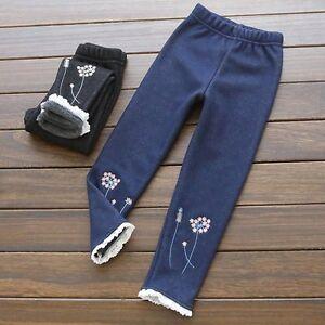 Kids-Girls-Winter-Warm-Denim-Jeans-Pants-Lace-Flower-Stretch-Leggings-Trousers