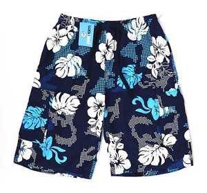Urban-Vintage-Herren-Blau-Blumenmuster-Shorts-Groesse-l-l11