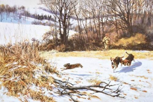 Beagles chasin a rabbit by Beecham