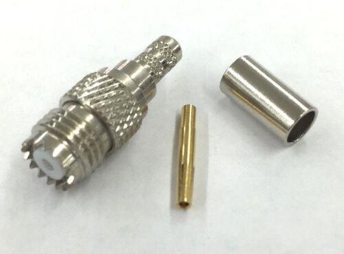 Mini UHF Female Connector for RG-58A//U Coax Cable ~ 3 Piece MU3252