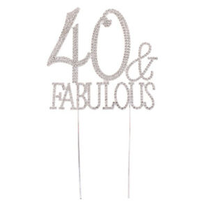23c5f0a7 Image is loading Bling-Crystal-Rhinestone-40-Fabulous-Cake-Topper-for-