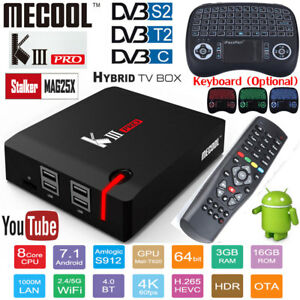 Details about MECOOL KIII Pro Smart TV Box OTT&DVB 3GB+16GB S2+T2+C Android  7 1 Wifi Bluetooth