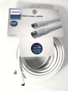 Philips 25ft Coax Cable White Audio/Video RG6 DISTRESSED