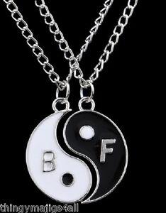 Negro-Y-Blanco-Chino-Yin-Yang-mejores-amigos-para-siempre-Colgante-Collar-Ying-2-parte