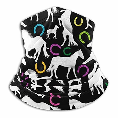 White Horses and Horseshoe Print Neck Gaiter Scarf Paisley Versatile Sports