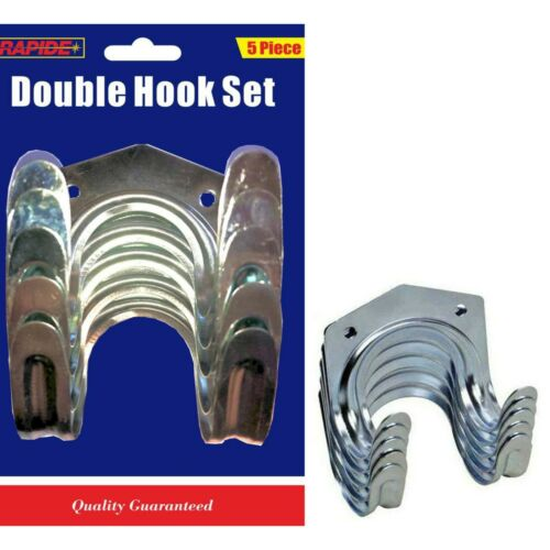 Rapide 5 Pieces General Purpose Double Hook Set Wall Mounted Bike /& Garden Tools