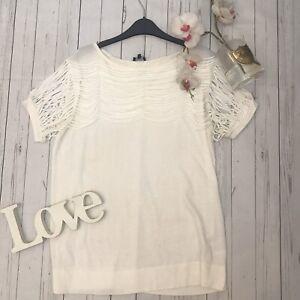 Jaeger-Size-XL-16-white-ribbon-t-shirt-drape-top-smart-casual-GC-quirky-cotton