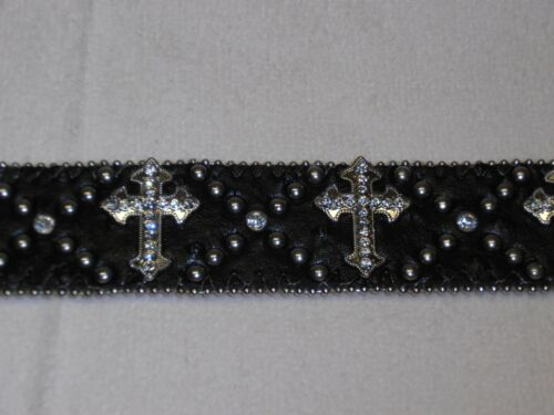 Ladies Black Leather Ostrich Frenchh CROSS Cowgirl Crystal Concho Belt S M L XL