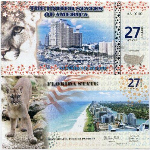UNITED STATES 27 STATE DOLLARS USA 2016 FLORIDA MIAMI PANTHER UNC
