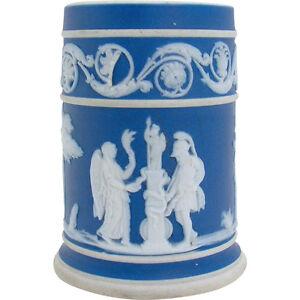 1930's Signed Wedgwood Blue Jasperware Toothpick Holder Other Antique Ceramics