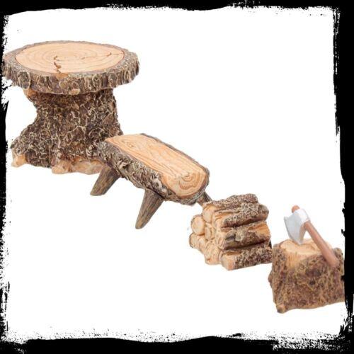 Fairy Woodland Lodging Set //Fairy Gardens// Table// Seat// Logs// Axe Block Mini Fun