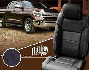Toyota Tundra Seat Covers >> Details About 2014 2015 2016 2017 2018 Toyota Tundra Katzkin Outlaw Black Leather Seat Covers