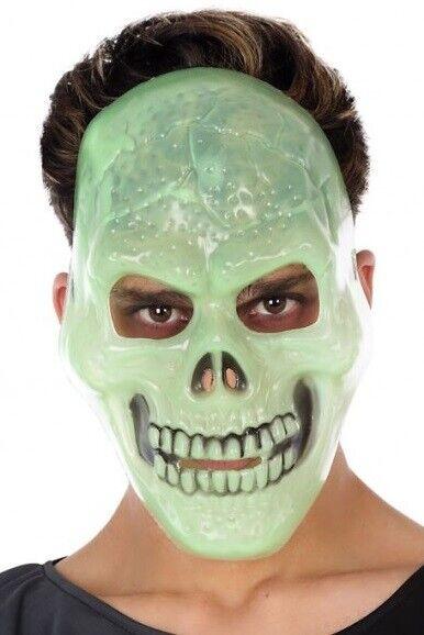 Mens Ladies Glow in the Dark Halloween Skeleton Skull Mask Fancy Dress Costume