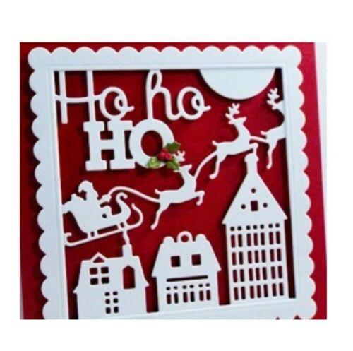 Christmas Santa Metal Die Cut stencil HO HO HO square IO Stamps craft Dies