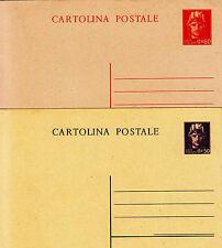 Repubblica-Due cartoline postali 50+60 cent - Nuove