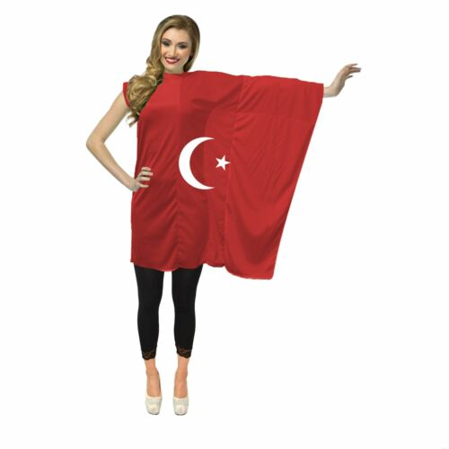 Ladies Turkish Flag Dress World Cup Football Supporter Cricket Fan Costume