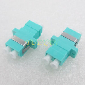 10pcs-Optical-Fiber-Connector-LC-OM3-Duplex-Aqua-Fiber-Optic-Adapter-with-Ear