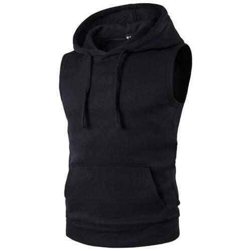 Men Sleeveless Hoodies Tank Tops Gym Fitness Casual Sport Vest Hooded Sweatshirt