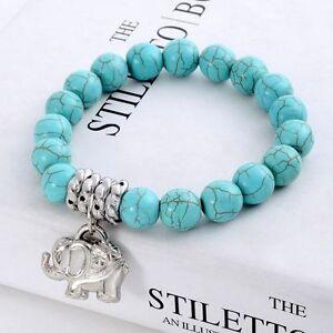 Women-Pendant-Charm-Howlite-Beads-Men-Bead-Stone-Elephant-Turquoise-Bracelet