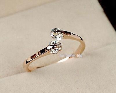 Size #6#7#8#9 18K Rose Gold Gp Swarovski Crystal Engagement Wedding   Ring FB633