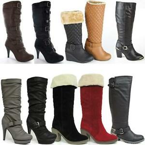 WOMENS-LADIES-MID-CALF-KNEE-HIGH-HEELS-BOOTS-NEW-WINTER-FAUX-LEATHER-SHOES-SIZE