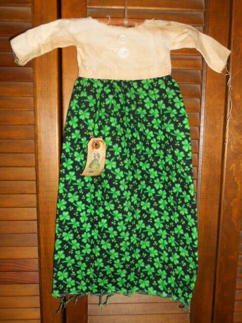 Prim WALL DRESS w/hanger Decor SHAMROCK & IVORY DRESS* ST PATRICK'S DAY, IRISH
