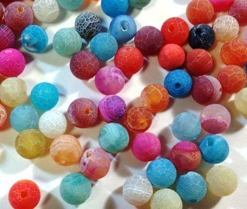 Achat Perlen Edelsteine Natur Gefrostet 4//6//8//10 mm Schmucksteine Wählen Farbe