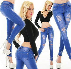 Jeans Ladies Skinny Jeans Trousers Used Look Crina