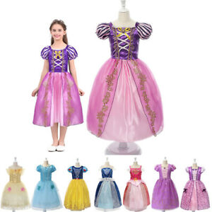 Girls-Fancy-Princess-Costume-Belle-Cinderella-Birthday-Halloween-Party-Dress-Up