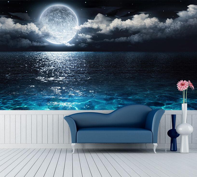 3D Sea Full Moon Clouds 3418 WandPapier Decal Dercor Home Kids Nursery Mural Home