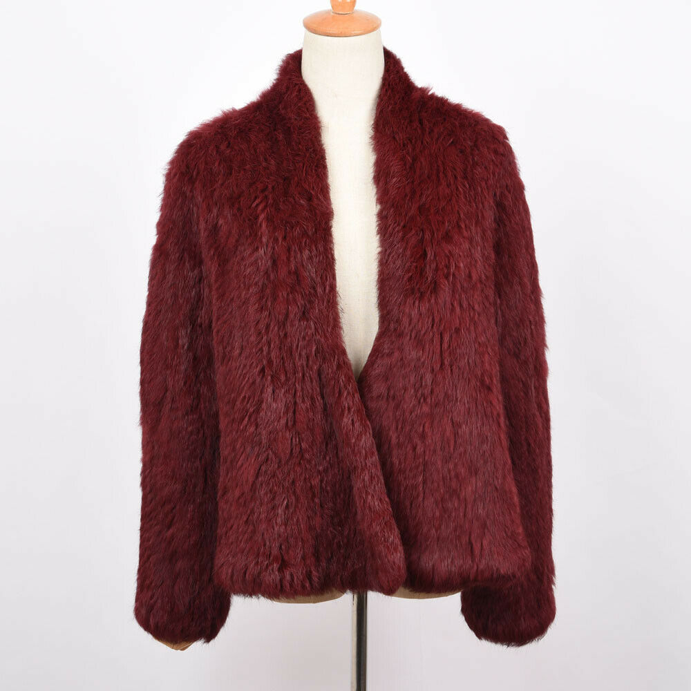 femmes Real Fur veste Knitted Rabbit Fur Coat Winter Soft Outwear Hot Style81340