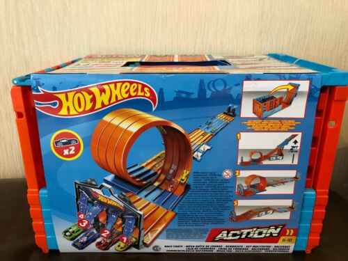 Nuevo Y En Caja-FTH77 Hot Wheels constructor carrera Cajón pistas con bucles 2 coches Incluido Nuevo