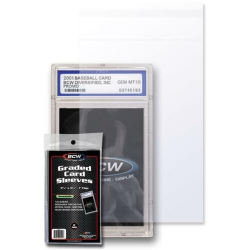 300 BCW RESEALABLE GRADED Baseball CARD Poly SLEEVES 3 3//4 x 5 1//2