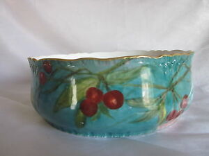 Limoges-Hand-Painted-Cherries-Bowl-8-75-034