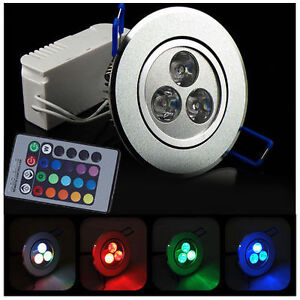 5w rgb led deckenlampe downlight spot lampe rot blau gr n. Black Bedroom Furniture Sets. Home Design Ideas