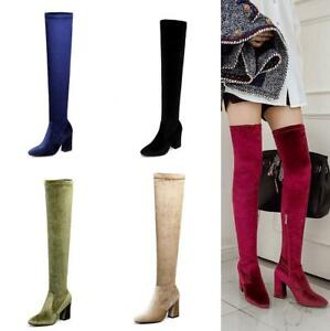Chic Womens Pointy Toe Over Knee Thigh High Boots Suede Stretchy Stilettos Shoes