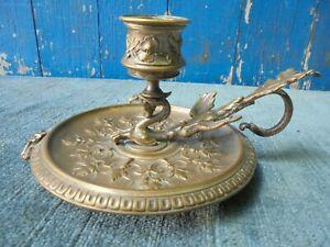 """Bougeoir A Main En Bronze """"lm"""" Orfévre Art Nouveau"""