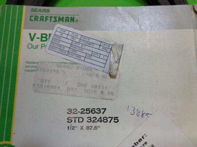 32-25637 PREMIUM V-Belt NEW SEARS CRAFTSMAN STD 324875