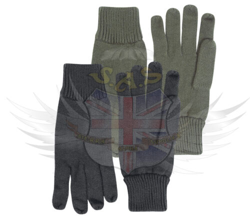 NEW MIL-COM BRITISH ARMY STYLE BLACK GREEN 100/% ACRYLIC COMBAT GLOVES-SAS//PARA