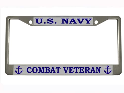 "/""US NAVY COMBAT VETERAN/"" Metal Auto License Plate Frame Car Tag Holder"