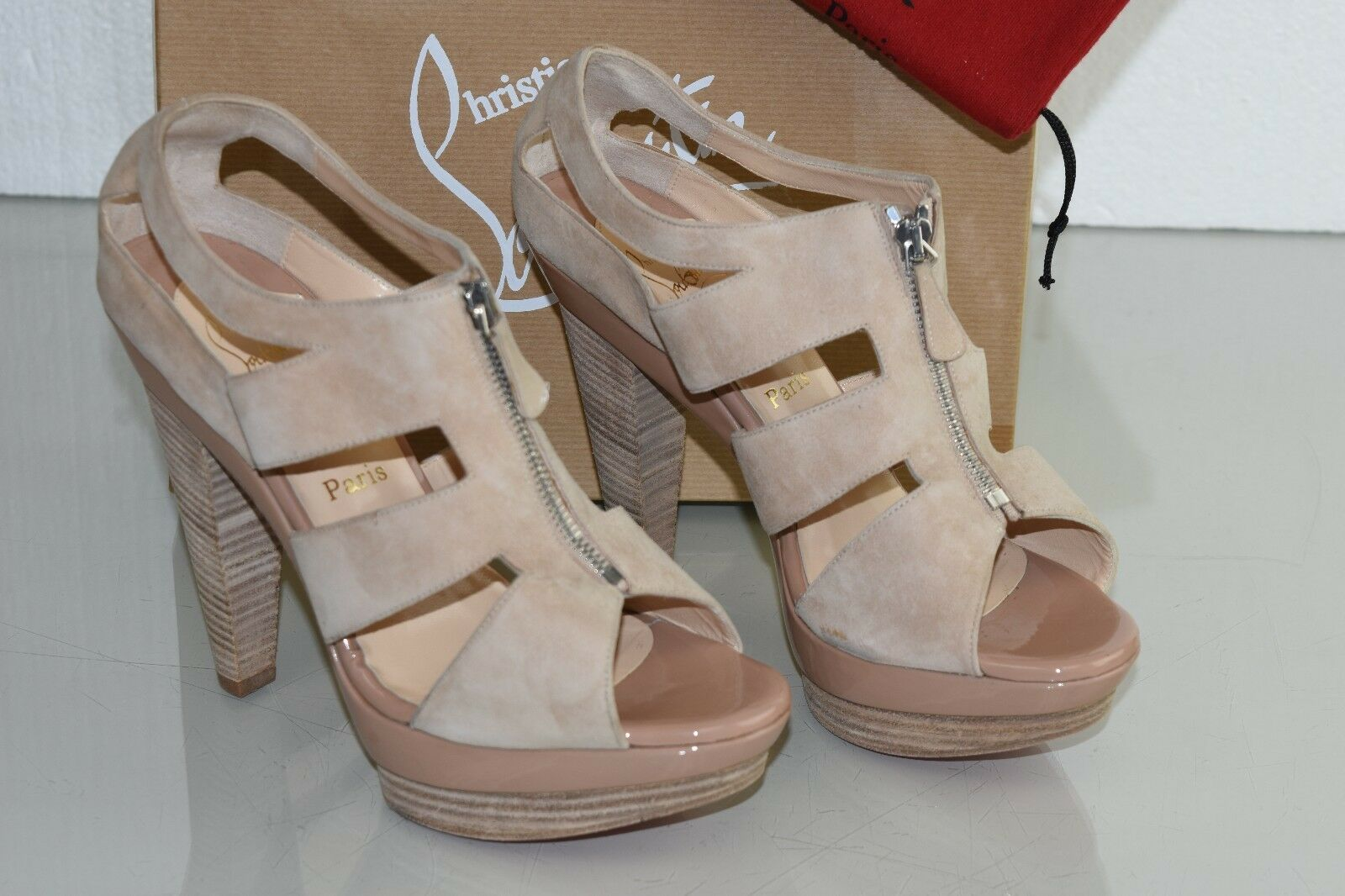 NEW NEW NEW Christian Louboutin ZIPETTE Suede NUDE Patent Platform Cut Out shoes 42 115ebb